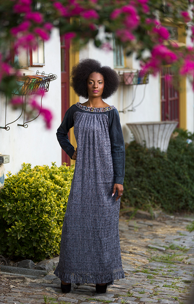 This dress is dyed with eucalyptus and charcoal dyes; its neckline is hand-beaded by Gad's fair-trade partners in Guatemala.