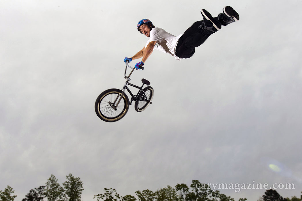 BMX pro Kenneth Tencio goes for a ride at Daniel Dhers Action Sports Complex in Holly Springs. The Costa Rican is in town to train at the world-class BMX training facility.