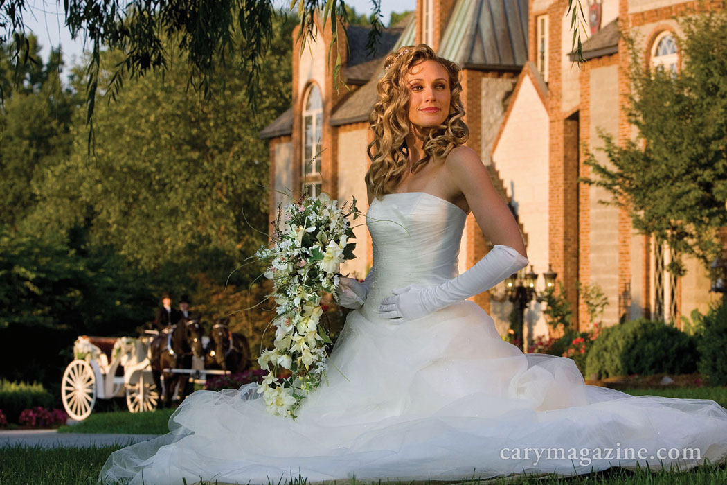 Former Cary Magazine writer Heather Green models for a Sept/Oct 2008 article on fairytale weddings at Barclay villa in Angier.