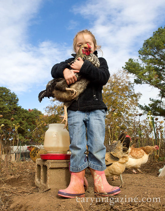 A youngster, boots on wrong feet, poses with one of her favorite chickens at a community garden in Raleigh.