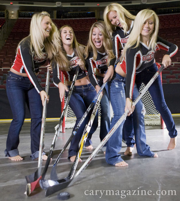 Carolina Hurricanes Storm Squad denim jean fashion shoot at RBC Center.
