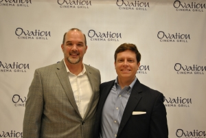 Rob Collins, Carmike's Chief Marketing Officer, with Scott Manning, president of the Holly Springs Chamber of Commerce.