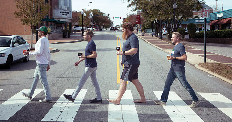 Cary may not have an Abbey Road, but Bond Brothers brewers, from left, Andy Schnitzer, Jay Bond, Whit Baker and Jeremy Bond, would still like everyone to come together for good beer.