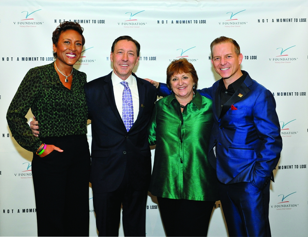 """Robin Roberts, """"Good Morning America"""" co-host, George Bodenheimer, former executive chairman of ESPN, Inc., Susan Braun, and Broadway actor Christian Hoff at the December launch event for the Not a Moment to Lose campaign."""