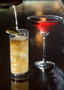 The Maker's Maple, left, is bourbon, apple cider and ginger beer with maple syrup and rosemary-infused simple syrup. The cranberry martini is made with citrus vodka, cranberry juice and candied cranberries.