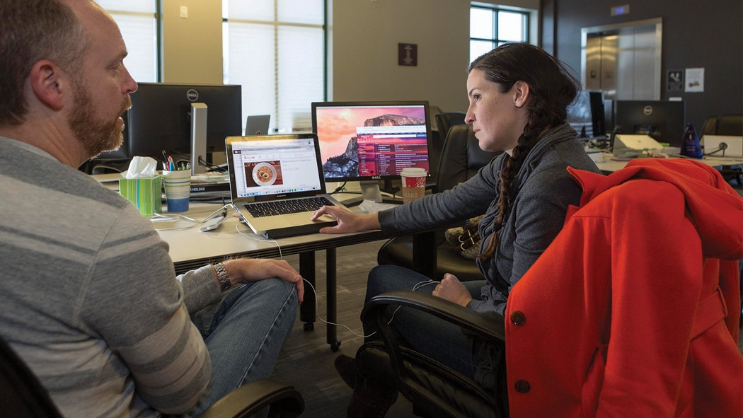 Stuart Allen and Monica Wood of Myxx are among the teams hard at work to launch startups at Cary Cofounders Lab. Western Wake economic development is boosted by the lab, and other incubator programs in Morrisville and Fuquay-Varina.