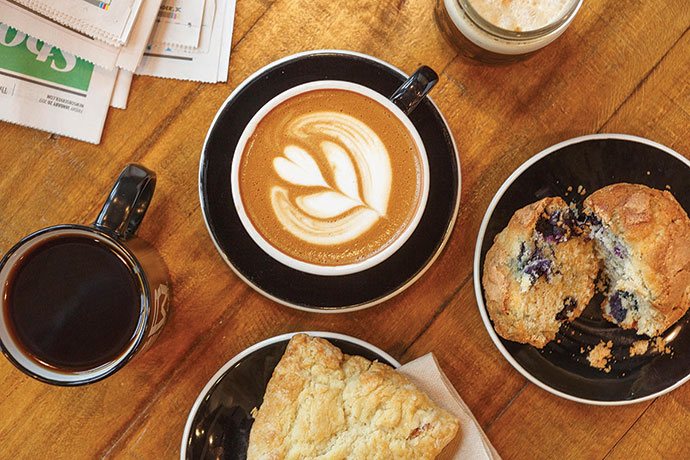 Start your progressive dinner with an espresso drink from BREW Coffee Bar. The café also offers a selection of pastries, bar snacks and sandwiches.