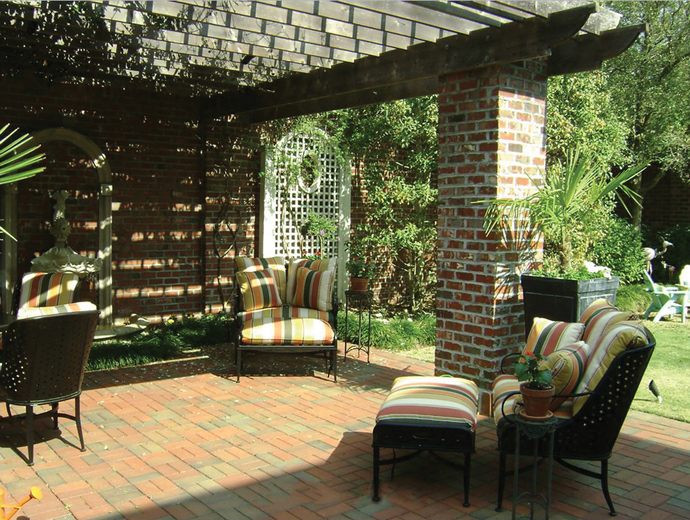 Rider loves Wilmington for its mix of history and newness. To add to the home's character, he crafted a brick outdoor sitting area.