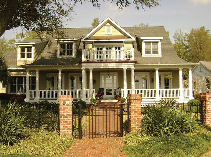 The Southern charm of this low country home takes you back to a simpler time, Rider says. The expansive front porch is 125 feet wide and perfect for rocking chairs and ice cold lemonade.