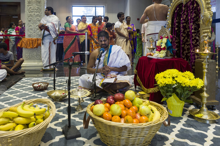 In Hinduism there are no formal services except during festivals and other special occasions. The temple is open weekday mornings and evenings and from 9 a.m. to 9 p.m. on weekends and holidays so people can drop by as they are able.