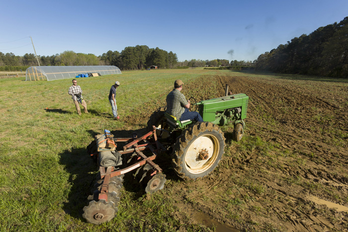 David Barbee, who grew up on a small farm outside Charlotte, pilots his tractor at Good Hope Farm. He plans to grow ginger and turmeric with his partner Michael Carpenter, and likes that the farm is close to consumers who value the aromatic spices.