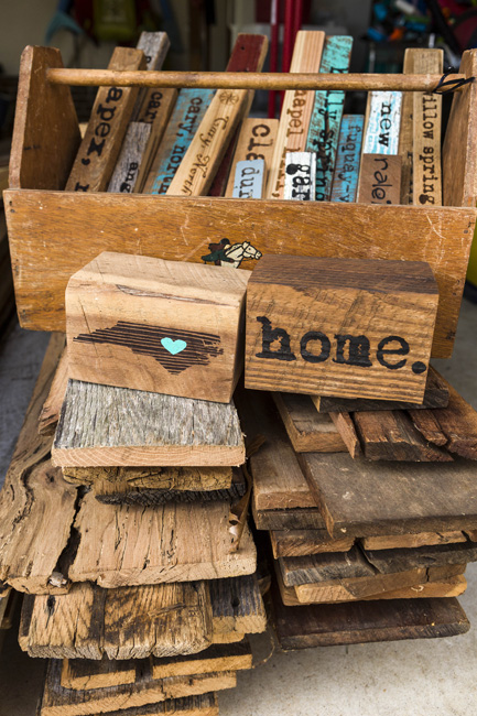 "We use every bit of wood. It keeps the overall purpose of what we do,"" says Gemberling. Small scrap pieces go into signs or other décor pieces."