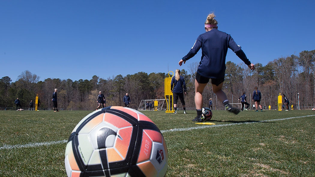 North Carolina Courage players practice at Sahlen's Stadium at WakeMed Soccer Park. This is the second incarnation of the Courage as a professional women's soccer team in the Triangle. The first, Carolina Courage, played in Cary from 2001-2003.