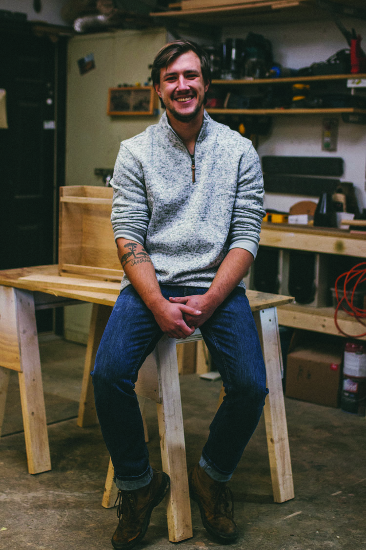 "Matt Booty builds Scandinavian-inspired furniture and home accessories for his company Enkle Designs. ""My goal is to produce good quality products that are made on a small scale, with a lot of attention given to detail,"" he says."