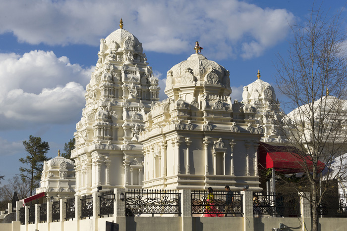 The Sri Venkateswara Temple is built on a rise on the Cary property. Plans for the temple began in 1998 when a local family bought 2.5 acres for the project. Another seven acres were eventually added to the site, and the temple was consecrated in 2009.