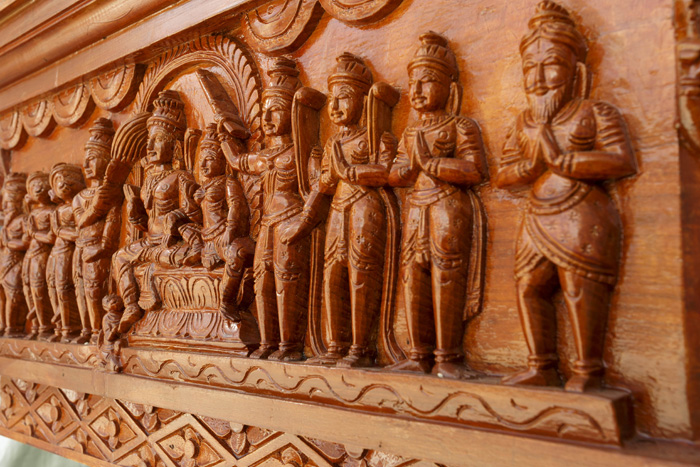 During some festivals, the deities are brought out of the inner temple, so more of the faithful can see them. The teak chariot, above, that carries the deities was carved in India, dismantled and reassembled in North Carolina by the same craftsman.