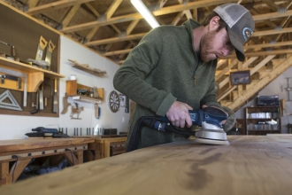 "Doug Boytos of Live Edge Wood Designs grew up in Cary and learned woodworking at Green Hope High School. Whenever someone would ask him what he wanted to do, he'd jokingly say, ""It would be awesome if I could do woodworking, and just build furniture."""