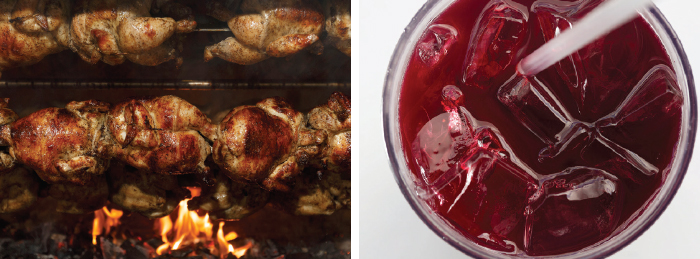 "Left: Charcoal-roasted chicken turns in the rotisserie oven at Alpaca. ""The marinade is a special house seasoning that's a family recipe of the owners,"" says director of operations T.J. Cordero. Right: Chicha morada, made from purple corn, pineapple, lime and spices, tastes like a cold, spiced cider."