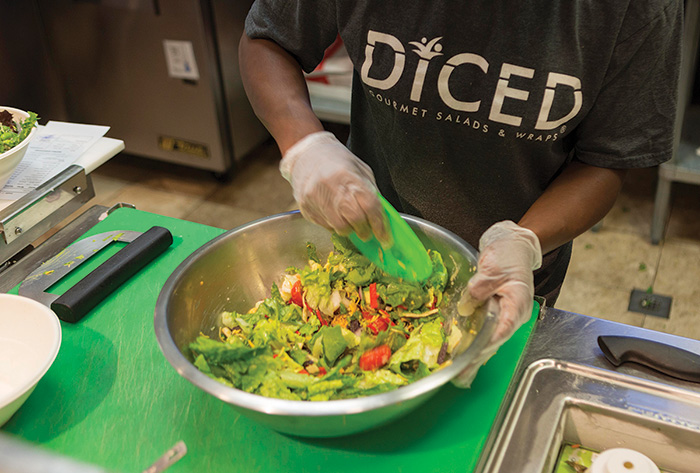 Salads and wraps are made-to-order in front of the customer.