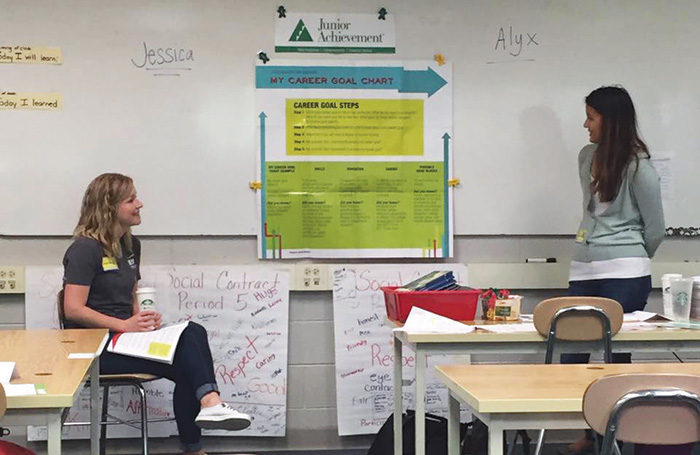 In June, volunteers with Junior Achievement led young people through exercises and games to help them think about future careers, budgeting and financial literacy at East Wake Middle School.