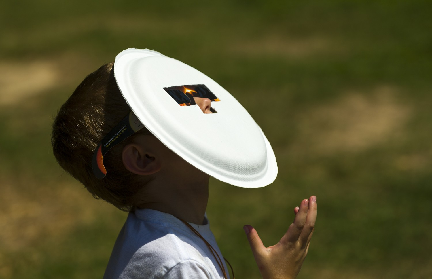 Eclipse glasses attached to a paper plate provided extra layer of safety.