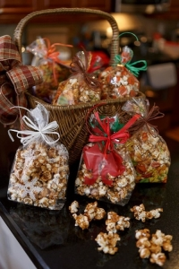 From October to December, Vinson's caramel corn is packaged in themed bags and tags depending on the holiday.