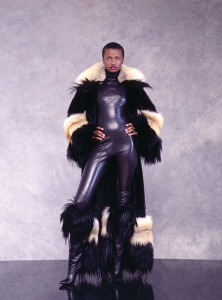 Jean Louis Scherrer, Day Ensemble, haute couture, fall/winter 2000–01, fox, goat, mink, Persian lamb and leather, appeared in Fashion Sensation; photo courtesy of Johnson Publishing Company LLC.
