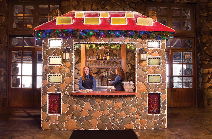 The Great Gingerbread House is a 10.5x10.5-foot-replica of the inn made from more than 1,500 pounds of edible goods, from which staff serve house-made hot cocoa.