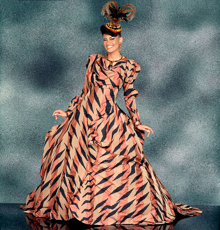Vivienne Westwood, Ball Gown, special order, fall/winter 2002–03, silk ribbon taffeta with hand-silkscreened print, appeared in Simply Spectacular; photo courtesy of Johnson Publishing Company LLC.