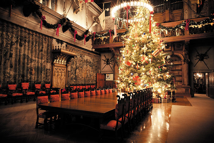 Biltmore House is filled with Christmas trees, with the centerpiece being the Banquet Hall's 35-foot Fraser fir.