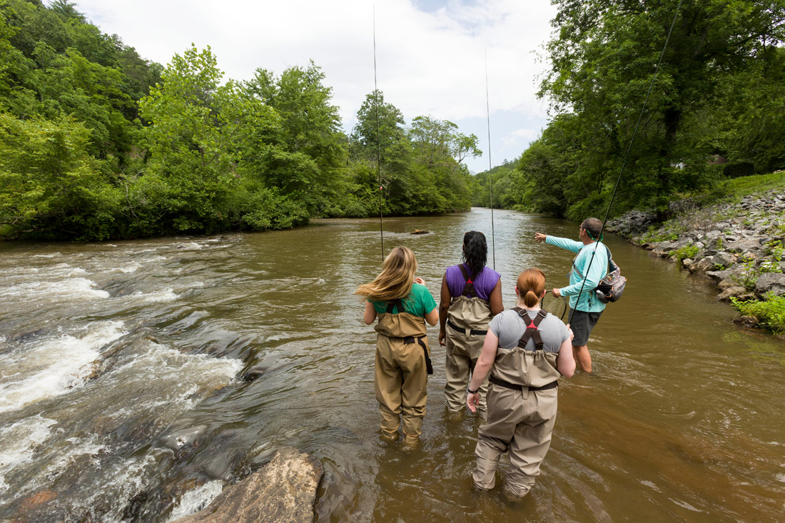 With its teeming populations of rainbow, brook and brown trout, Jackson County is a world-class fishing destination and the home of the Western North Carolina Fly Fishing Trail, a map of 15 prime spots to reel in trout. First-time fly fishers can take guided tours on the well-stocked waters of the Tuckasegee River with guides like Alex Bell, right, owner of AB's Fly Fishing Guide Service.