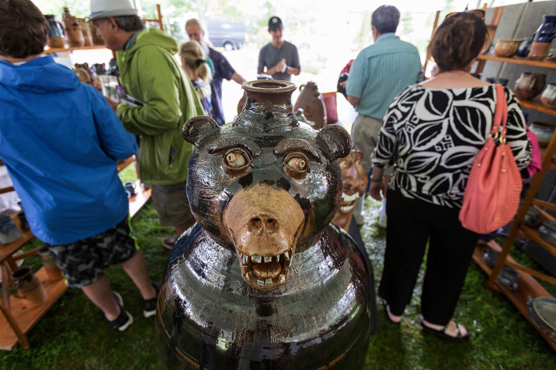 Jackson County is home to a thriving arts community, especially pottery. A bear jug by Bob Withrow of Brasstown, N.C., takes center stage during Pots on the Green. The two-day festival in June is one of 80 events held annually at the Village Green, a 13-acre park in Cashiers. In November, nearby Dillsboro hosts the Western North Carolina Pottery Festival.