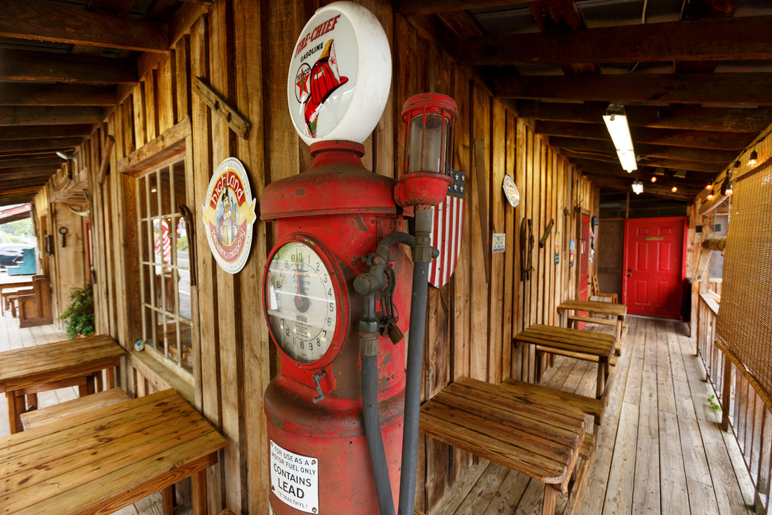 An old-fashioned gas pump in front of the log cabin of Haywood Smokehouse in Dillsboro harkens to Jackson County's past. Traditional Southern meals are served up at Haywood.