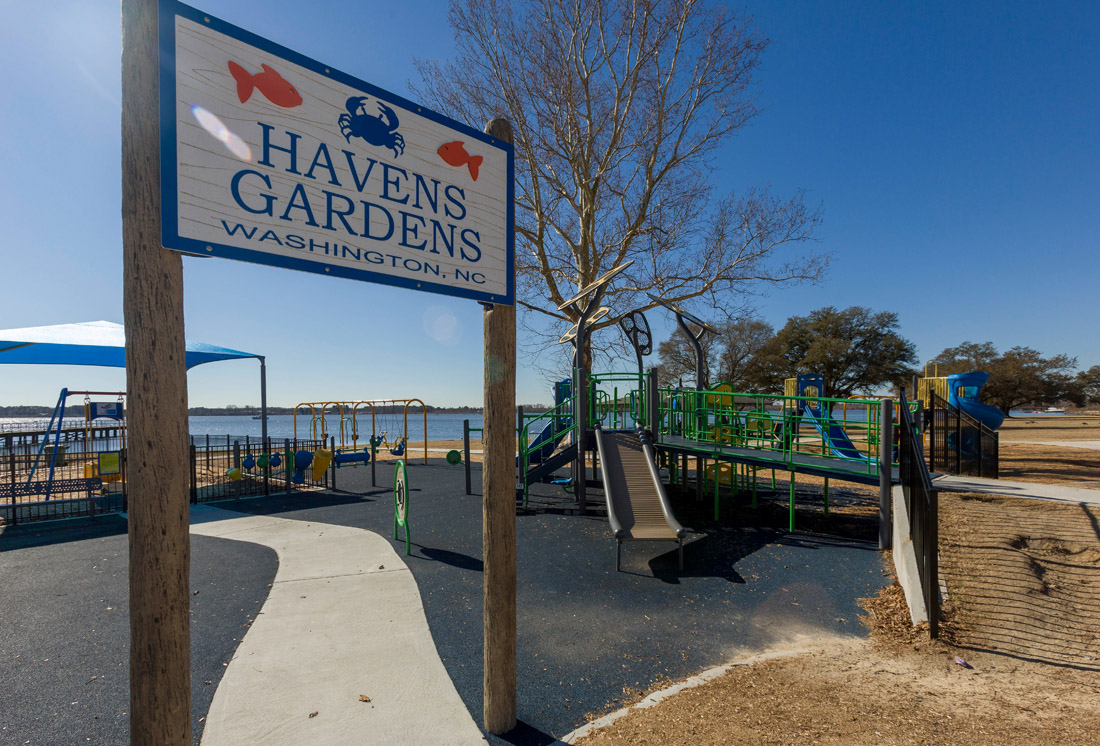 Children and parents will love the state-of-the-art playground and greenspace on the Pamlico River at Havens Gardens.