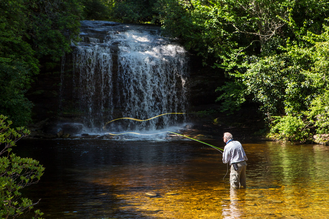 The lure of trout baits fly fisherman Tim Morrow of La Grange, N.C., who casts at Schoolhouse Falls near Cashiers. The area, Panthertown Valley, is home to breathtaking mountain vistas, world-class trout streams, eight major waterfalls, 30 miles of hiking trails and 6,300 acres of Nantahala National Forest wilderness.