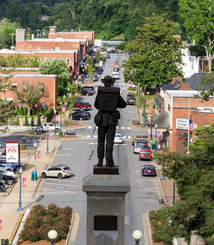 "A statue of a Confederate soldier overlooks Sylva's Main Street. The downtown was the backdrop for ""Three Billboards Outside Ebbing, Missouri,"" a 2017 film starring Woody Harrelson and Frances McDormand."