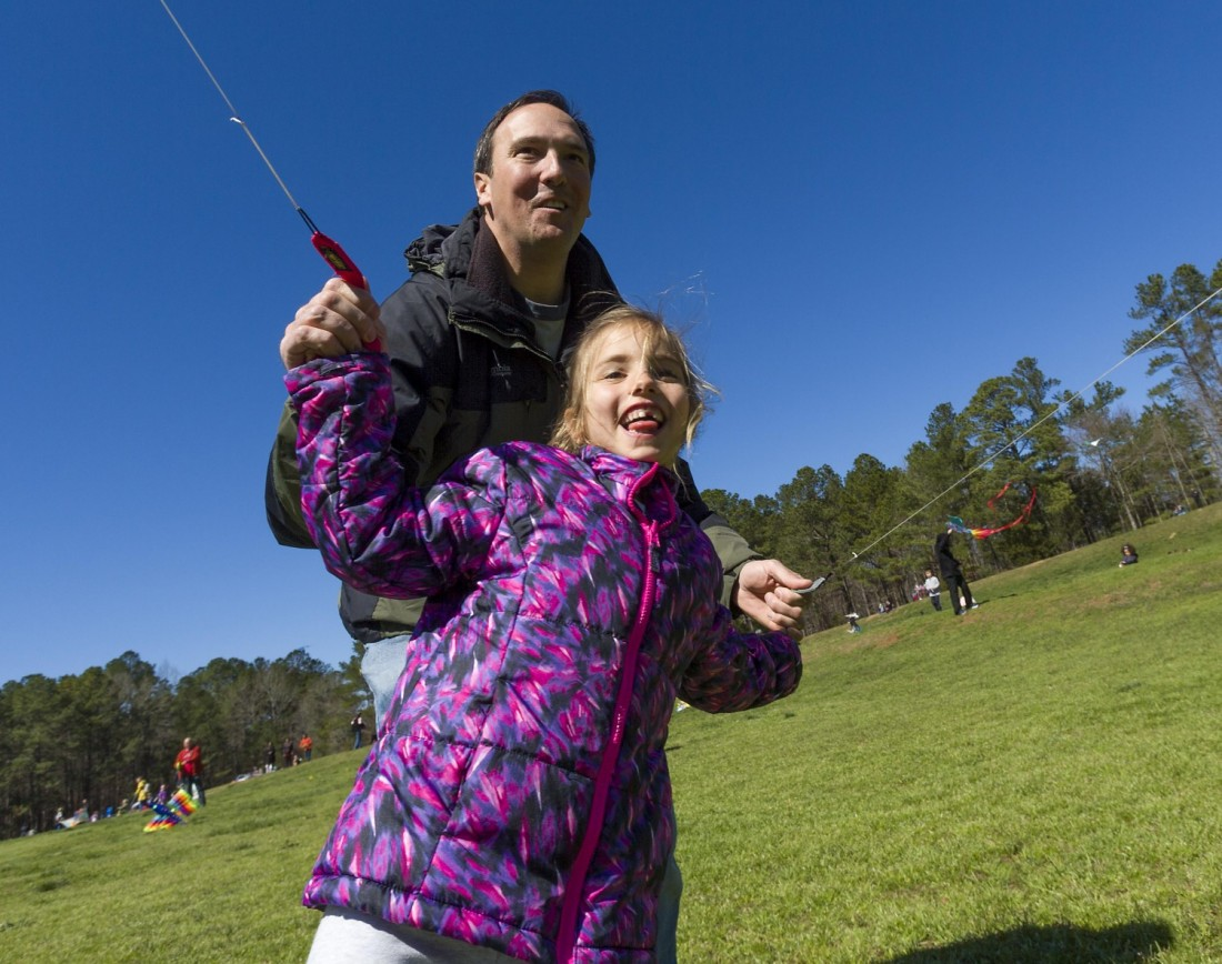 Izzy Vouga, 6, gets an assist from her father, Greg Vouga of Cary