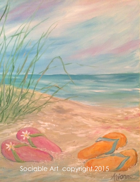 "3e19d5d3cf8bfe Paint ""Flip Flop Beach"" with Sociable Art"