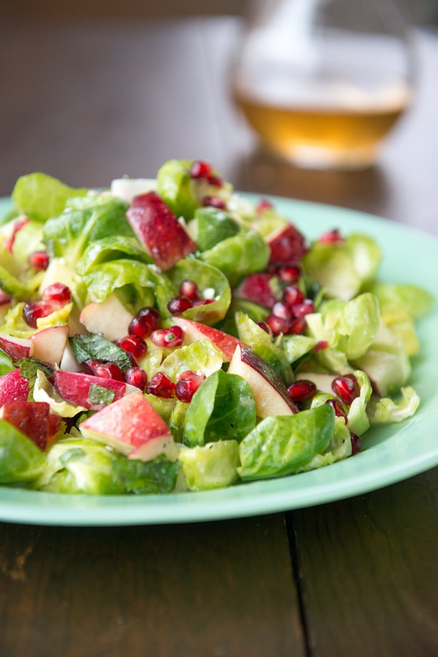 Brussel sprouts, apples, pomegranate with blue cheese honey vinaigrette