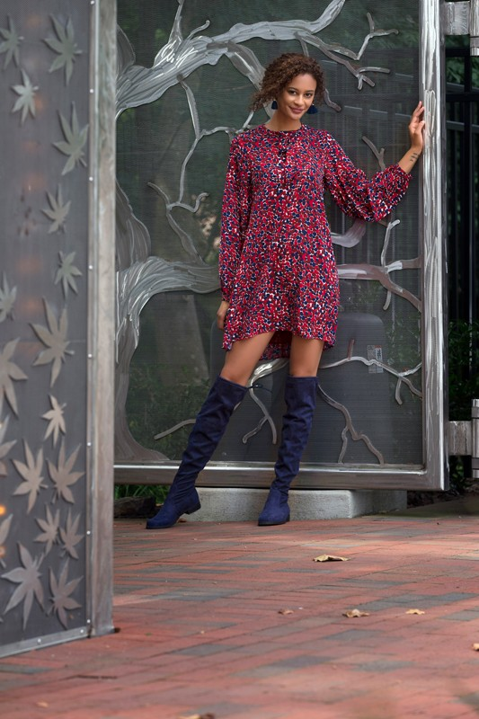Fringe earrings, $25<br> Dress, $55<br> From Holl & Main<br> Boots are stylist's own,  Similar style available at DSW