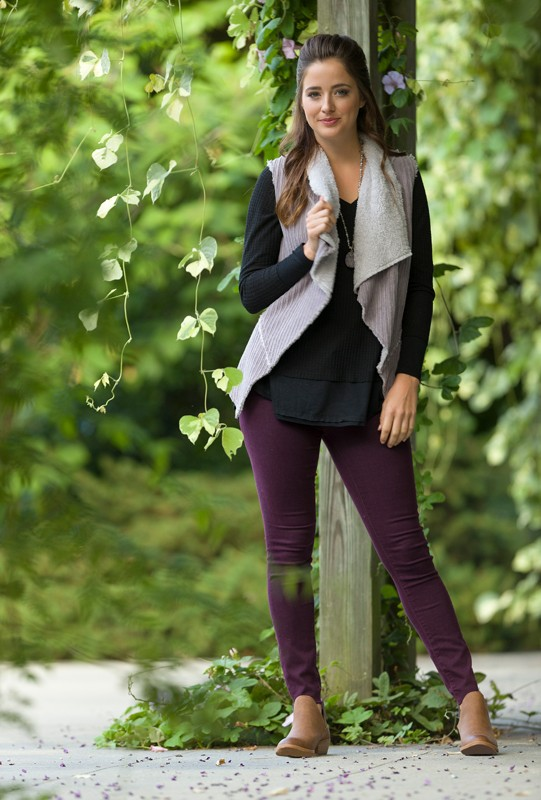 Necklace, $36<br> Black thermal shirt, $36<br> Articles of Society jeans, $68<br> Corduroy vest, $38<br> From Swagger<br> Booties, $24.99, Target
