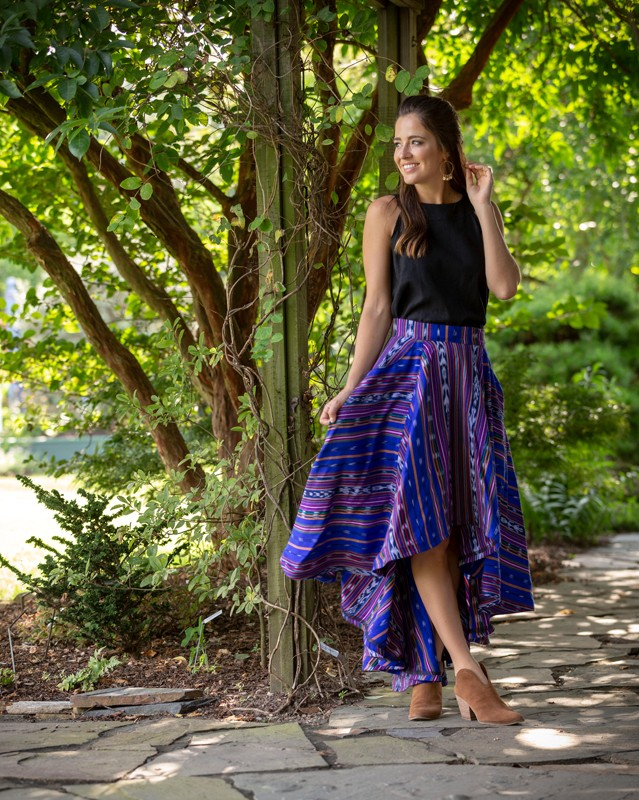 Artisan textiles from Guatemala are the centerpiece of Descalza, a fashion brand created by NCSU graduate Lisbeth Carolina Arias.  <br><br> Diana blouse, $80, Descalza<br> Lucero skirt, $275, Descalza<br> Gold earrings, $26, Pink Magnolia