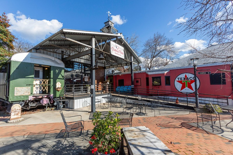 Enjoy lunch or dinner inside a vintage train car at CrossTies Barbecue Restaurant.