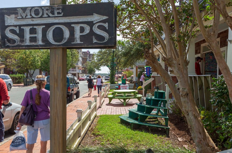 Park the car and allow for several hours if shopping is on the agenda. Manteo's downtown waterfront is lined with specialty shops, galleries and eateries, and all are within walking distance of one another.