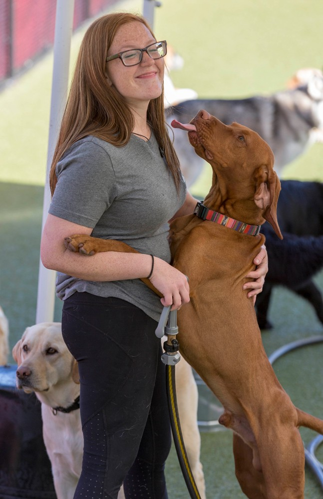 Doggie kisses are a job perk for handler Nicole Stencil.