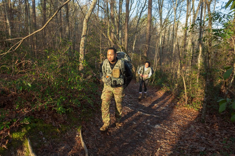 Kamar Perkins and Asia Ruiz from Fort Bragg hike the Raven Rock Loop Trail. The military base is less than an hour's drive from the park.