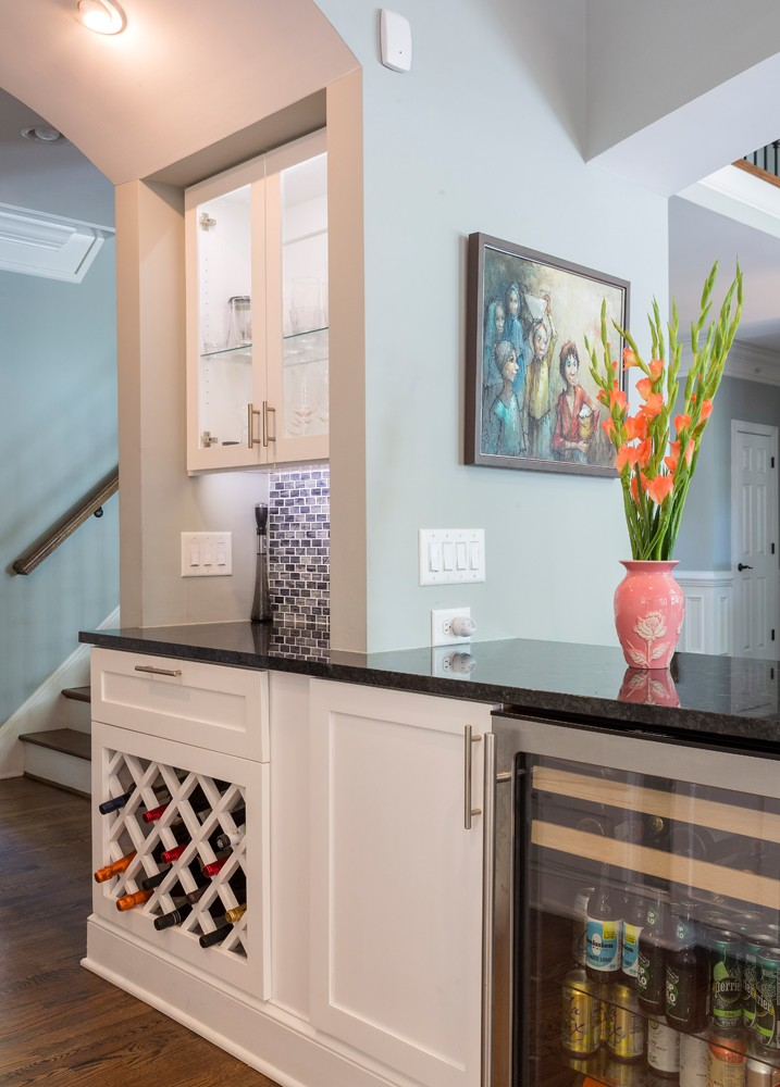 If Dawn Christine has a signature element, it is the separate beverage center, which she frequently adds to her designs. She says it improves how her clients use the space in their daily lives and when they entertain.