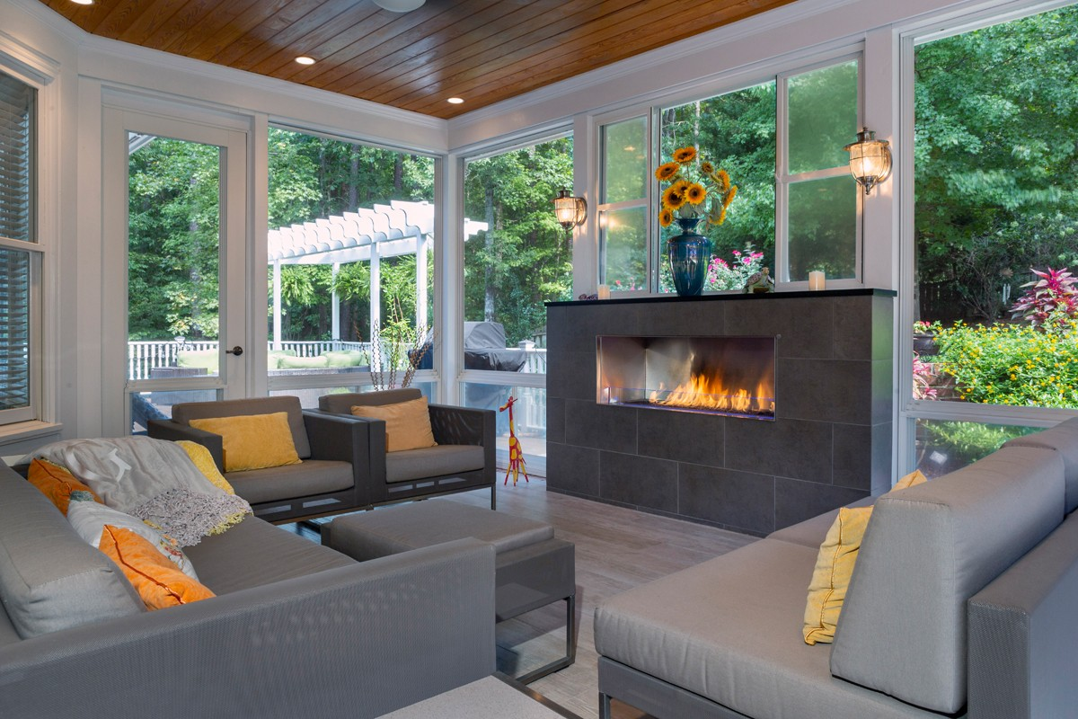 """I think every space should have focal points, multiple focal points if you can do it,"" says Dawn Christine, describing the fire and water features in the sunroom."