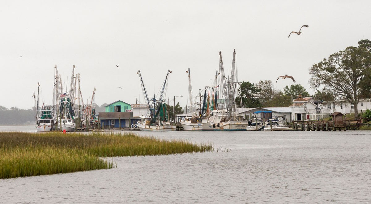 Working boats are docked in Varnamtown, N.C.