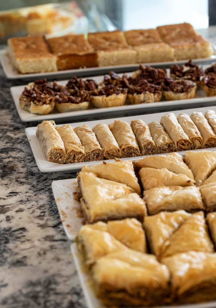 Baklava, mini pecan tarts and nut-filled lady fingers can be ordered by the dozen or sampled singly in the café.